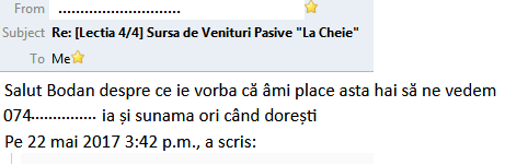 email cerere intalnire